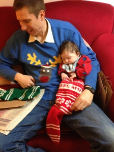 Gorgeous baby Annabel having a snooze in her personalized stocking
