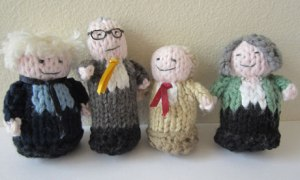 The four main candidates in knitted form